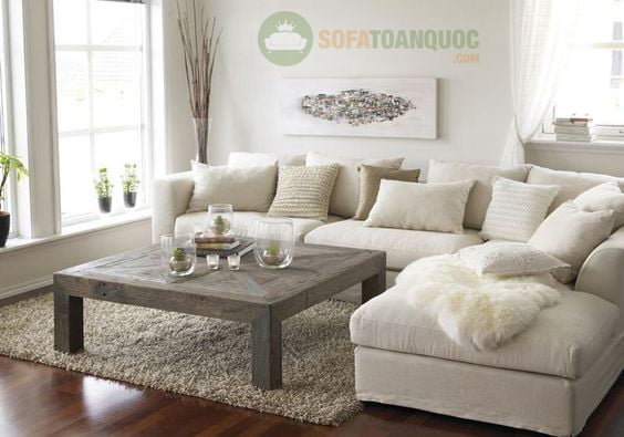 bàn ghế sofa màu trắng cho không gian phòng khách