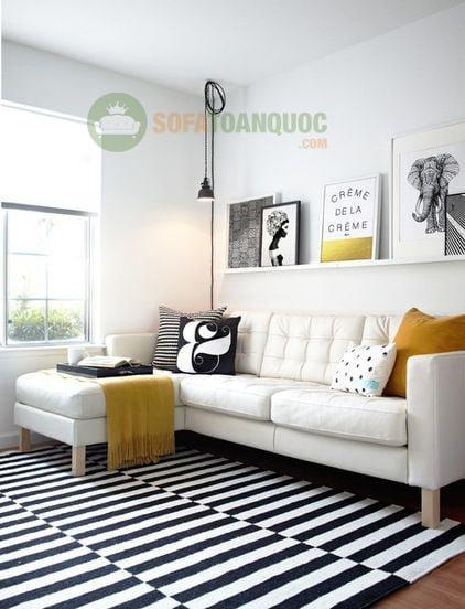 Bộ bàn ghế sofa góc màu trắng cho không gian phòng khách