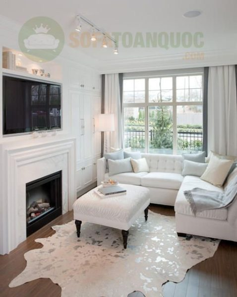 bộ bàn ghế sofa góc màu trắng cho phòng khách