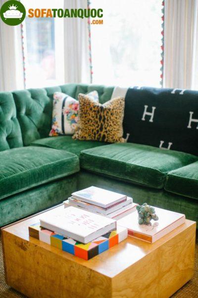 bộ bàn ghế sofa góc màu xanh lá cây đẹp cho phòng khách
