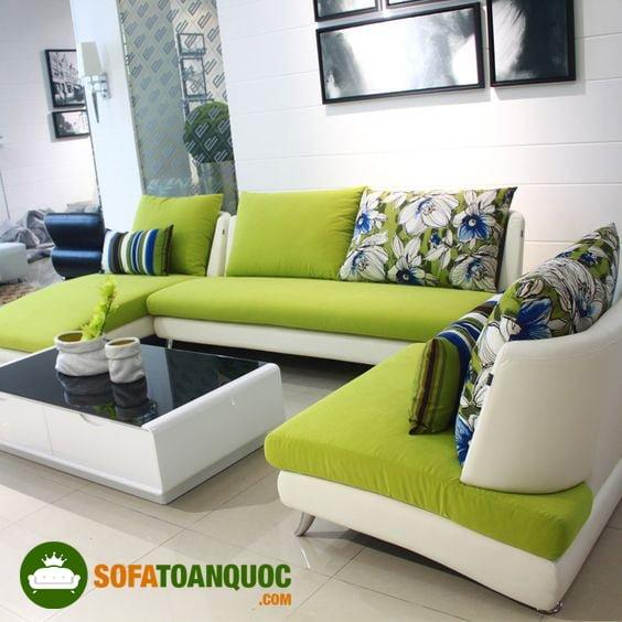 bộ bàn ghế sofa góc màu xanh lá mạ cho phòng khách