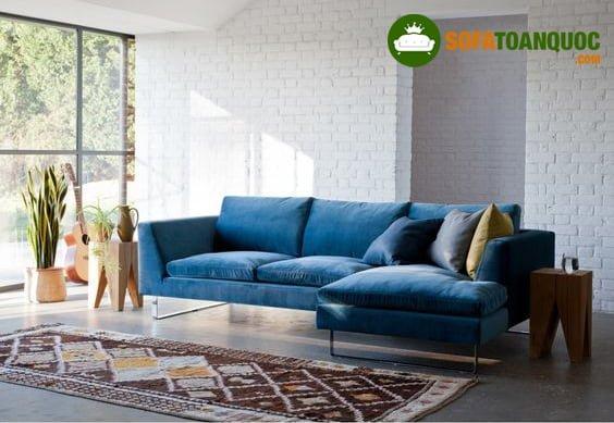 bộ bàn ghế sofa góc chữ L màu xanh nước biển đẹp