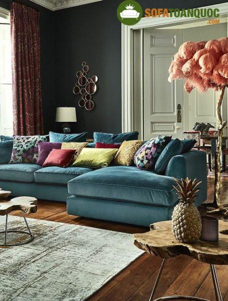 ghế sofa màu xanh dương cho phòng khách