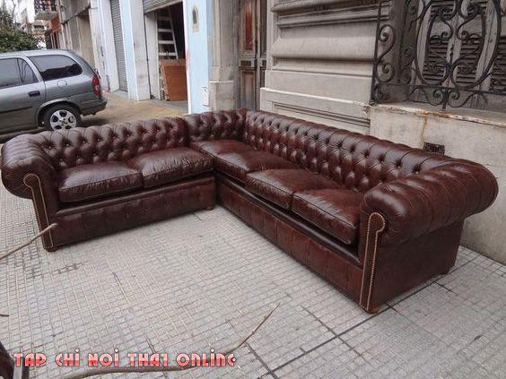 ghế sofa da góc tân cổ điển