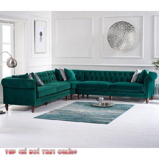 sofa góc tân cổ điển bọc vải nỉ