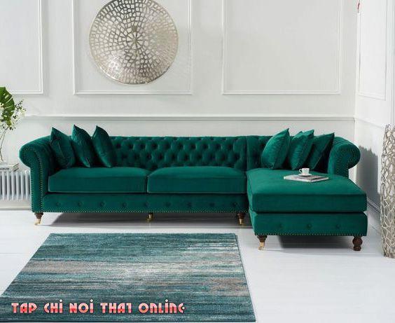ghế sofa góc tân cổ điển bọc vải