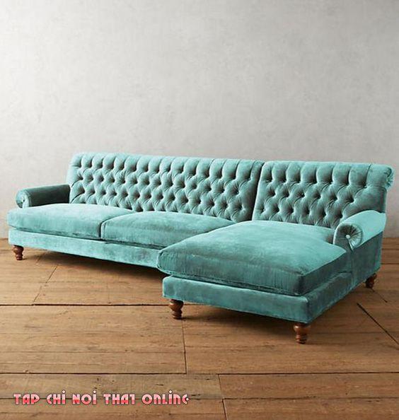ghế sofa góc tân cổ điển bọc vải nhung