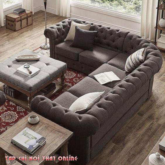 ghế sofa góc tân cổ điển cỡ lớn