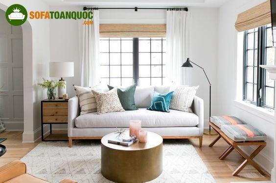 bàn ghế sofa gỗ bọc vải cao cấp tại Hà Nội