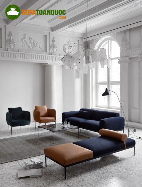 bàn ghế sofa vải cao cấp đơn giản