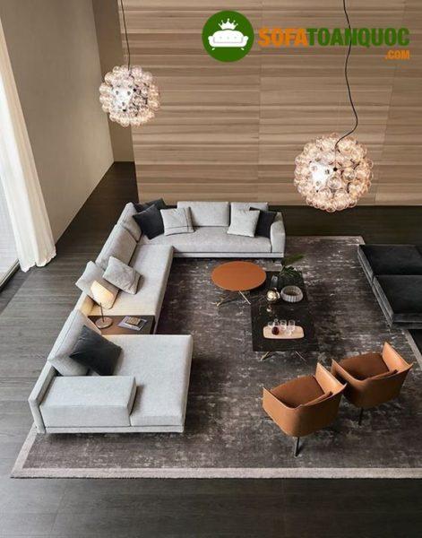 bàn ghế sofa vải nỉ cao cấp cho phòng khách