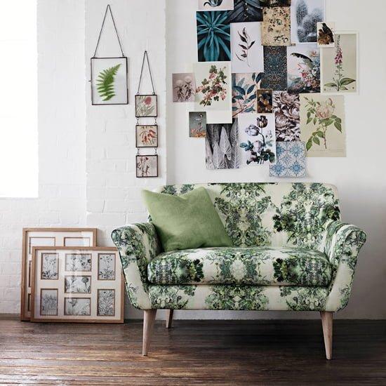 bàn ghế sofa vải nỉ hoa văn màu xanh cho căn phòng