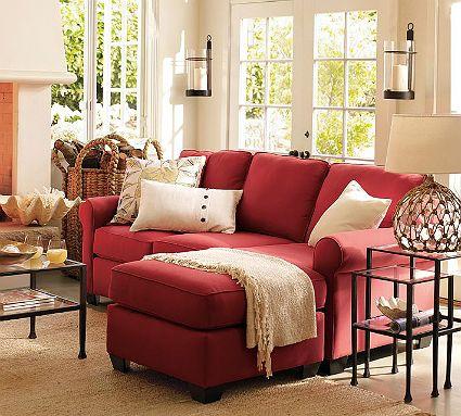 Bộ ghế sofa bọc vải màu đỏ chân gỗ