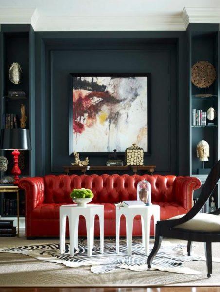 sofa văng tân cổ điển màu đỏ