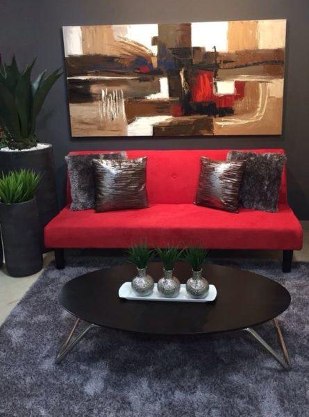 sofa văng màu đỏ