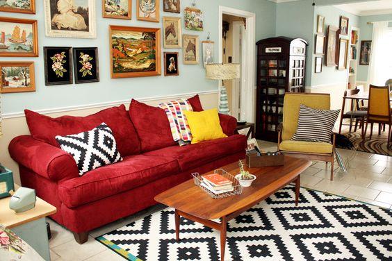 sofa vải nỉ màu đỏ đẹp
