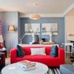 Sofa màu đỏ cho phòng khách rực rỡ, tràn trề sức sống