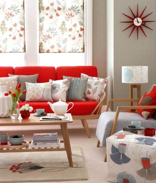 bộ ghế sofa gỗ bọc nỉ màu đỏ đẹp