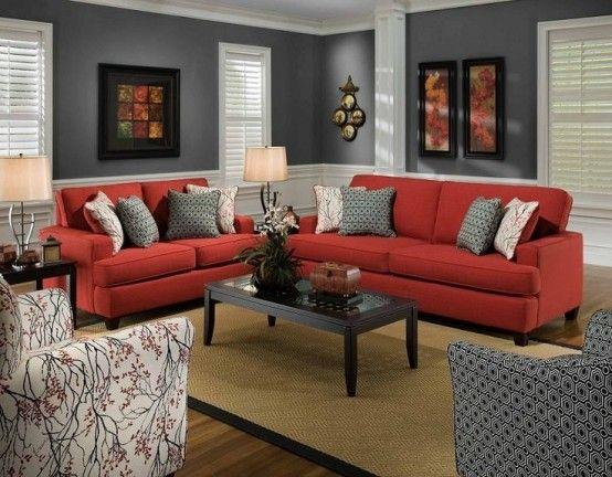 Bộ sofa văng 2 chỗ với 2 kích thước khác nhau màu đỏ.