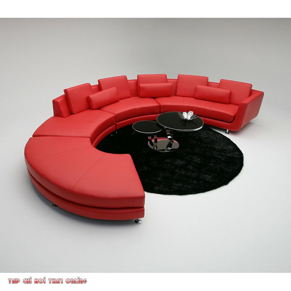 ghế sofa chữ C màu đỏ