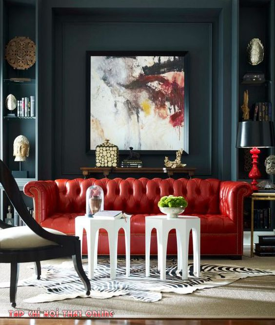 ghế sofa màu đỏ bọc da