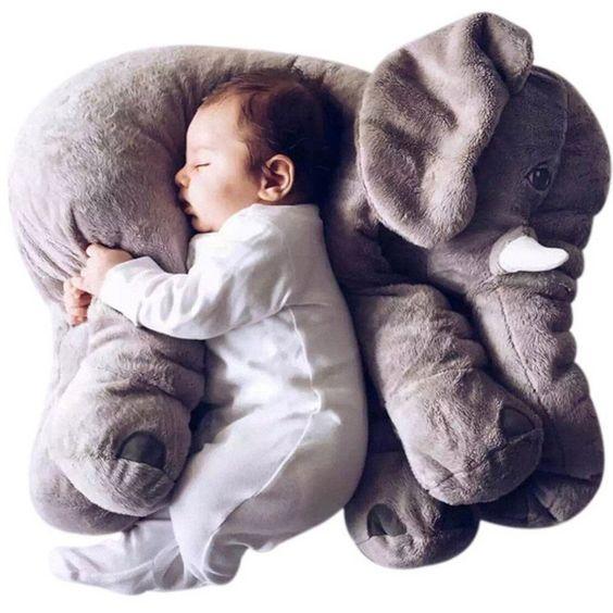 gối trang trí hình thú dễ thương - gối chú voi xám