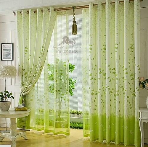 rèm cửa phòng ngủ màu xanh lá cây