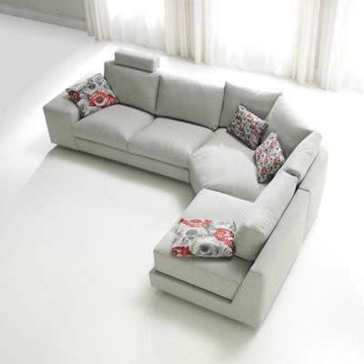 bộ ghế sofa góc vải cho phòng khách màu trắng