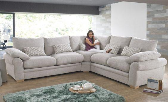 bộ bàn ghế sofa góc màu trắng