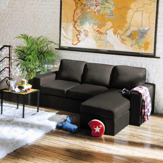 bộ ghế sofa góc vải màu đen