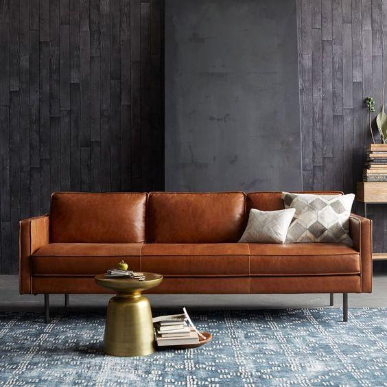 bộ ghế sofa văng da thật hiện đại