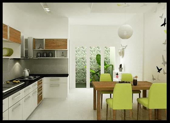 Nhà ống dài và hẹp nên nhiều hộ gia đình kết hợp phòng ăn và phòng bếp để tiết kiệm tối đa diện tích