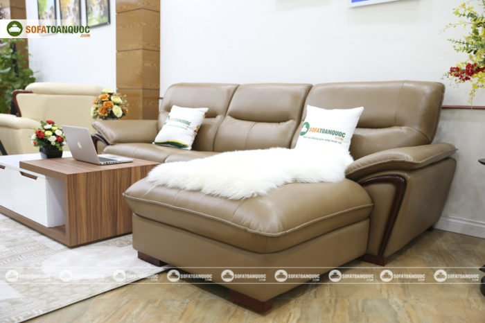 sofa da màu nâu cafe nhập khẩu