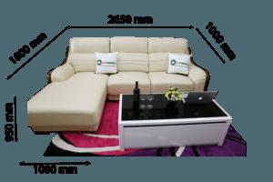 sofa da nhập khẩu màu kem cho phòng khách