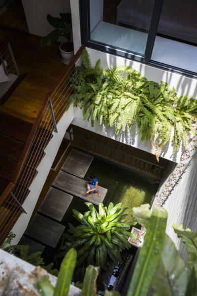 Những giỏ cây xanh được treo dọc bức tường để tạo không khí mát mẻ và ánh sáng tự nhiên vào căn phòng dễ dàng. Những cây xanh cũng được tắm nhiều yếu tố tự nhiên như ánh nắng, nước mưa giúp chúng phát triển tốt.