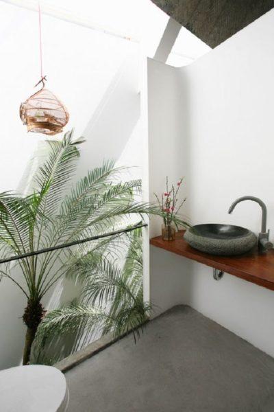 Ngay cả phòng tắm cùng tràn ngập cây xanh rất thoáng mát