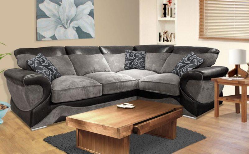 ghế sofa vải nhung dạng góc phòng khách