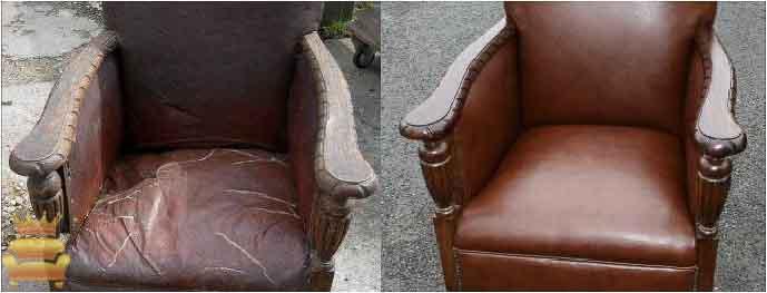 Sofa da đơn với phần da bị nứt nẻ đã được hô biến có vẻ ngoài như lúc mới mua