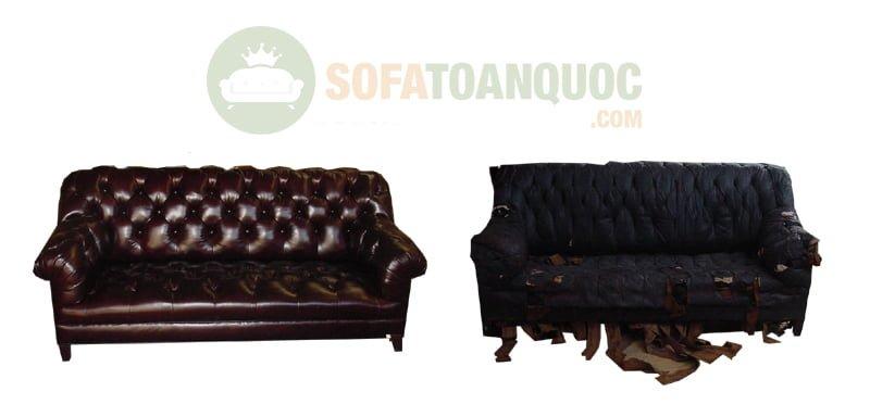 Những mẫu ghế sofa bọc da thật nổi bật với những đường may rút cúc cực kỳ ấn tượng