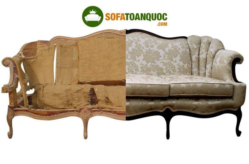 Có thể thấy rõ sự khác biệt sản phẩm sofa kiểu dáng tân cổ điển hoàng gai khi được lớp đệm và vải mới