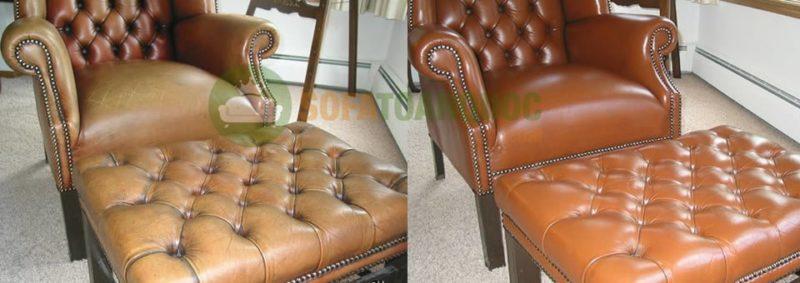 làm sạch sofa da before và after