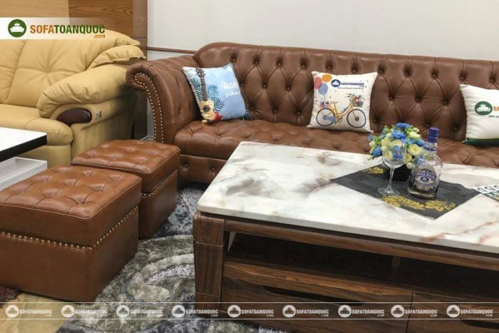 ghế sofa da thật màu nâu