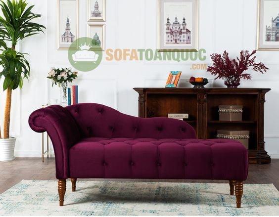 sofa relax màu tím bọc vải nhung