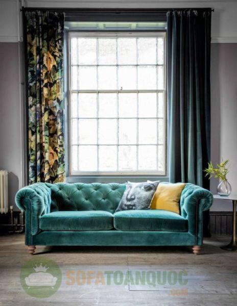 mẫu sofa bọc vải nhung màu xanh ngọc đẹp