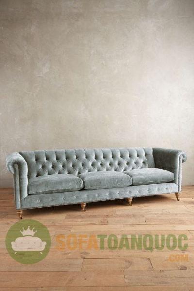 sofa vải nhung màu xanh đẹp