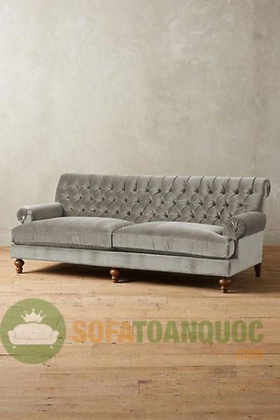 mẫu sofa vải nhung màu xám đẹp