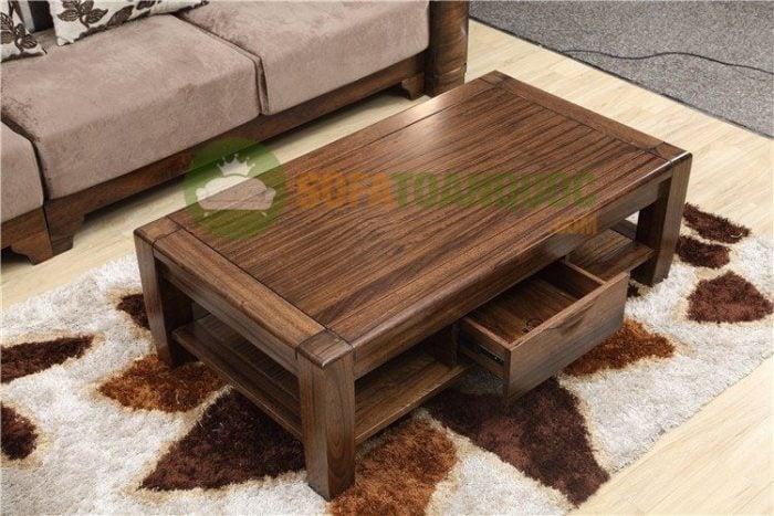 Bàn trà hình chữ Nhật thường có chiều dài bằng 3/4 bộ ghế sofa