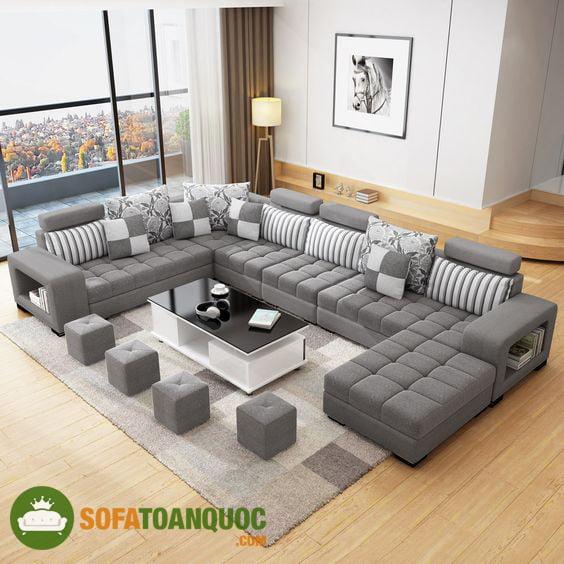 sofa góc chữ U bọc vải bố cho phòng khách rộng