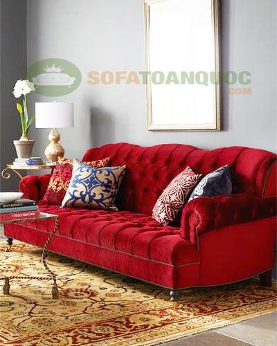 sofa bọc vải nhung màu đỏ phong cách tân cổ điển