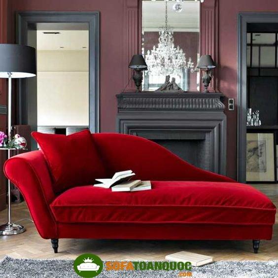 sofa relax màu đỏ bọc vải nhung